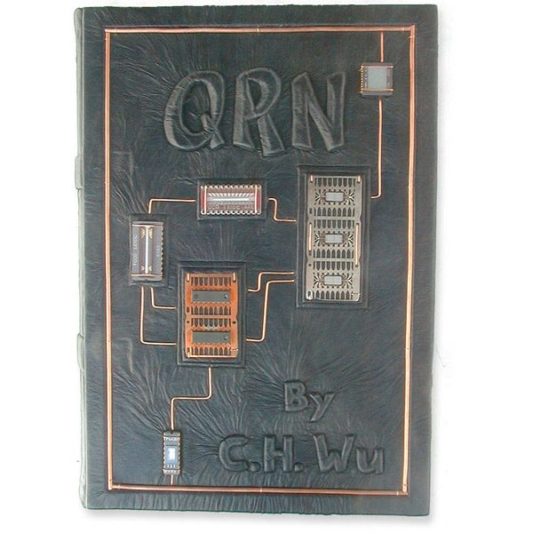 Custom Leather Computer Textbook Cover with Circuit Boards, Wire, Microchips, and Carved Title