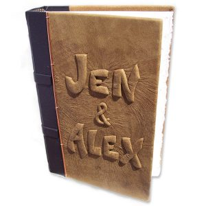 Engagement Book with Hidden Ring Compartment, carved leather embossed names
