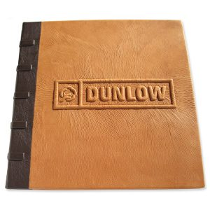 Custom Leather Handbound Portfolio Book with Carved Embossed Logo