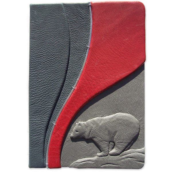 Leather Kindle Cover or ipad Cover with custom carved and leather embossed bear in gray and red
