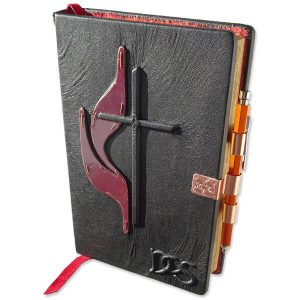 Custom Leather Methodist Bible with Copper Pen Holder Closure, Metal Flame
