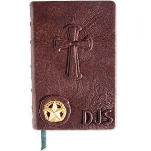Personalized Brown Leather Military Bible with Star Crest and Embossed Initials