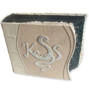 personalized leather wedding album with silver monogram, black acid-free pages