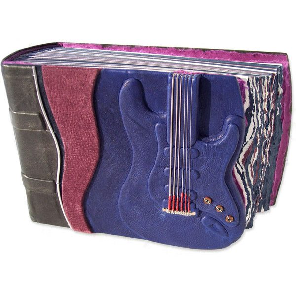 Guitar String Musician Scrapbook Album with real Guitar Strings on carved guitar