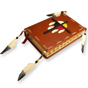 Custom Leather Native American Bible with Medicine Wheel, Eagle Feathers, Bone