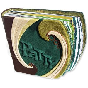 green leather photo album with name Patty within swirl leathers