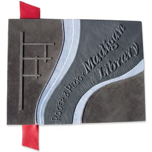 Custom Leather Screwpost Book with 3-D Lettering for Library Donor Names
