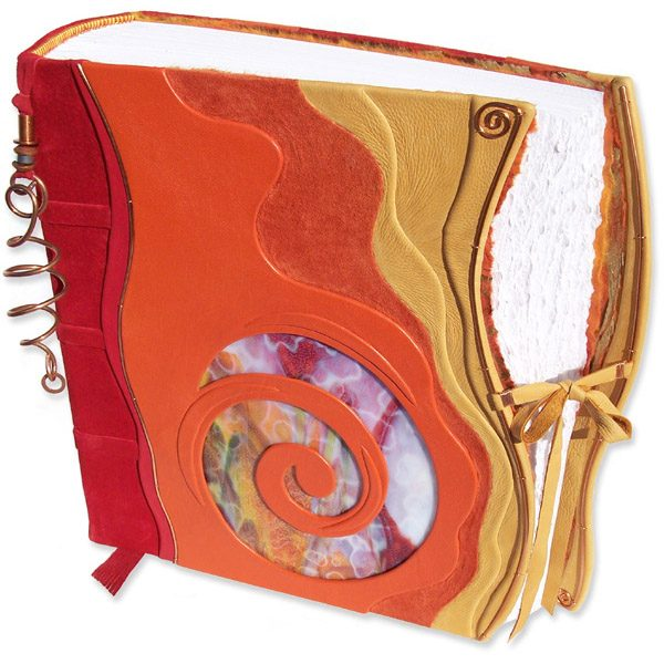 Custom Leather Stained Glass Swirl Album with Copper pagemarker and Lace Tie and red, orange, yellow leathers