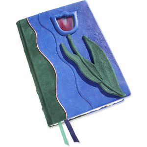 Custom Leather Stained Glass Tulip Bible