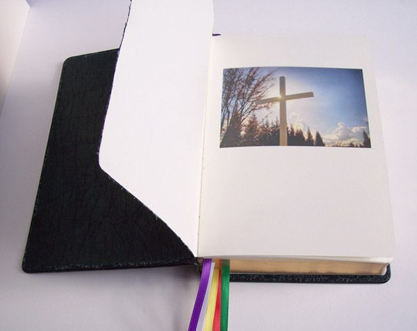 Custom Printed photos sewn into new Leather Bible, added pages