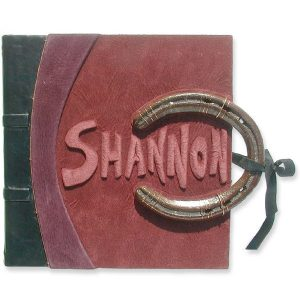 Horseshoe Leather Address Book with embossed name Shannon