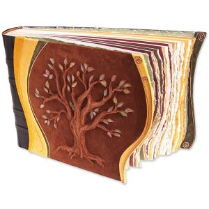 Family Tree Leather Scrapbook Album with Tree of Life carved and embossed with 50 copper leaves