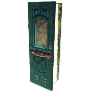 Green Door Leather Journal with Stained Glass Windows