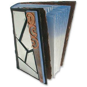 Handbound Askew Journal with Silver Mosaic and Copper Edge