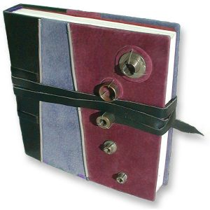 Handbound Leather Journal with Engine Parts and Leather Lace