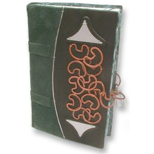 Leather Journal with Padlock and copper clips