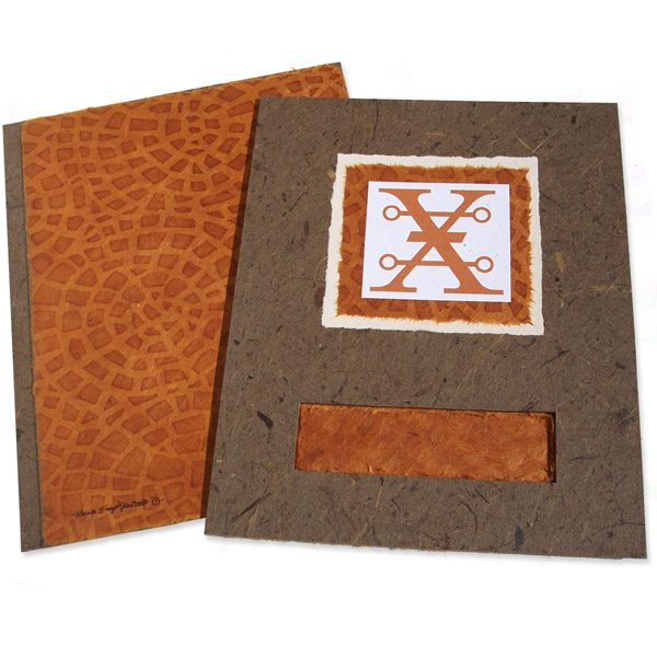 brown handmade paper portfolio book with cutout window