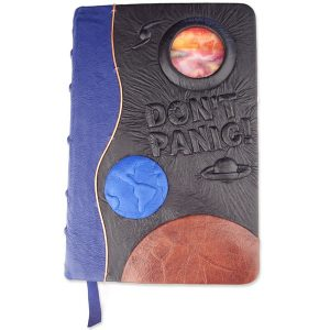 Hitchhikers Guide to the Galaxy Don't Panic Leather Bible, Stained Glass Planet