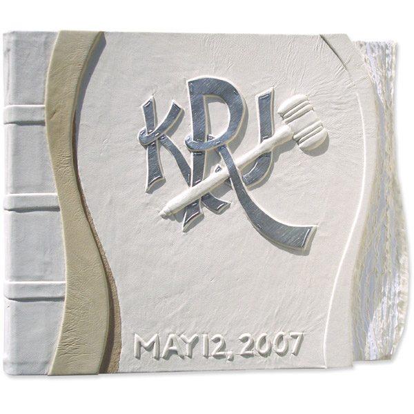 White Leather Monogram Wedding Album with gavel for Judges