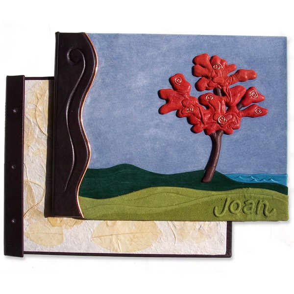 Leather Landscape Personalized Refillable Book Covers with embossed Red Tree and Name
