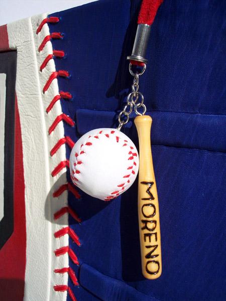 Moreno wood burnt Baseball Bat and Ball Bookmark