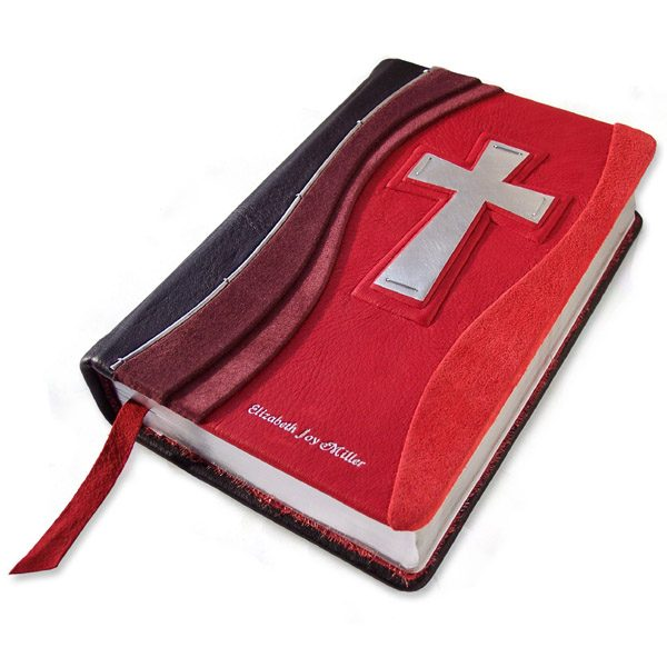 Personalized Red Leather Bible with Stamped Name and Silver Cross