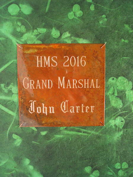 St. Patricks Day Parade Grand Marshall Etched Name Plate