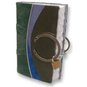 blue, green, and black leather blank diary with padlock around steel rings