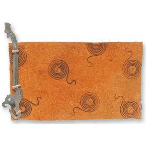 Gold Leather Notebook with Typewriter Hammer and branded swirls