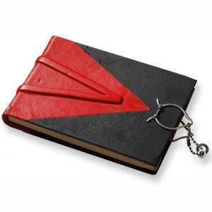 black and red handbbound leather blank journal with ball chain closure