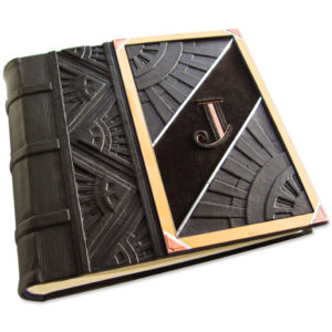 black leather embossed art deco wedding photo album with copper initial J