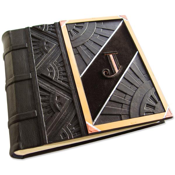 black leather embossed art deco wedding photo album with copper initial J