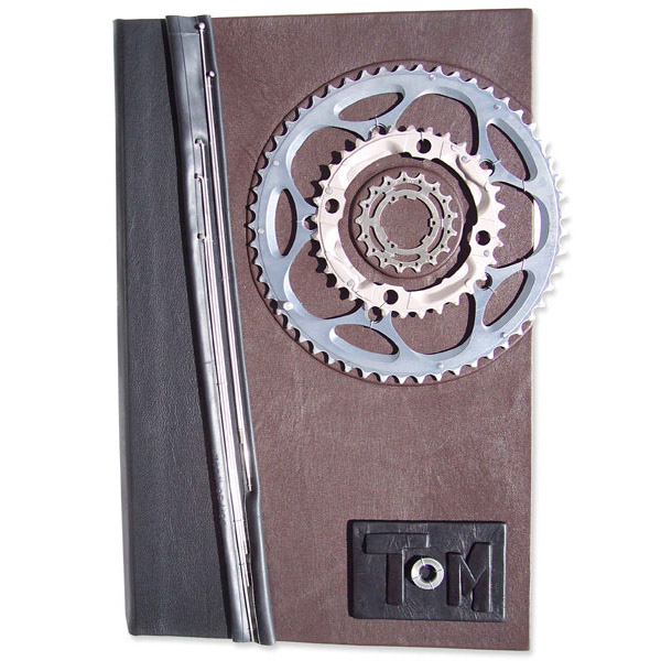 Bicycle Gears and bike inner tube on custom leather legal document file folder with embossed name panel