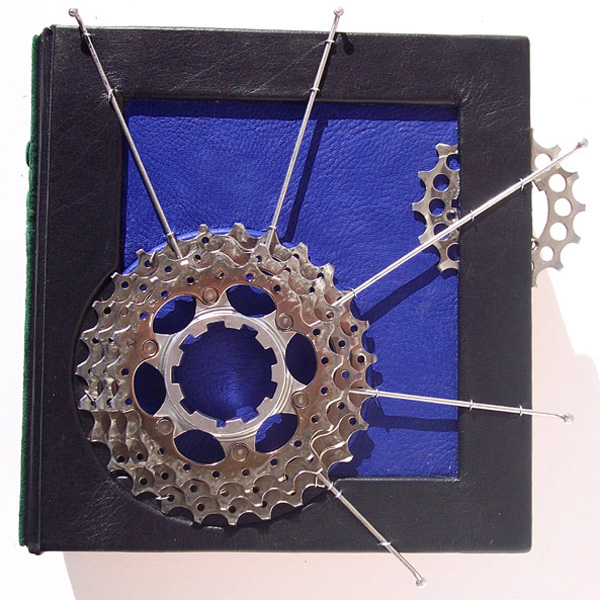 Custom Leather blue and black leather clamshell box with bicycle gears and bicycle spokes