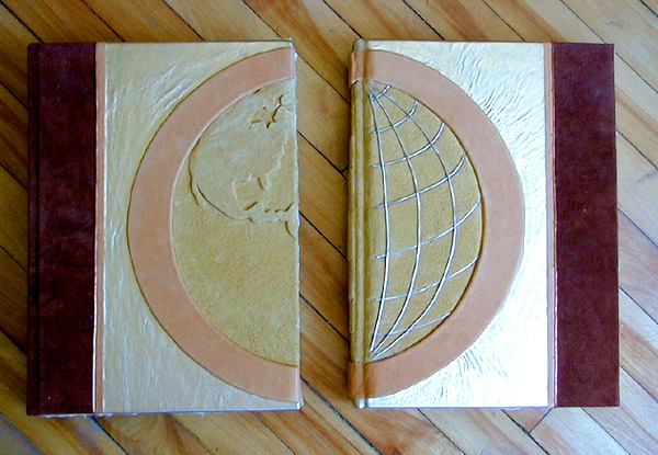 leather embossed earth book covers with longitude latitude silver lined globe