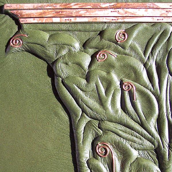 Art Nouveau celery leaf pillar with copper on green leather La Plante book cover