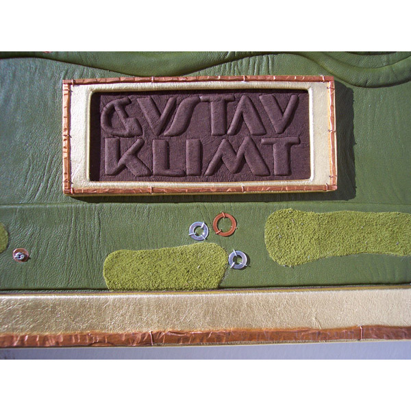 Gustav Klimt gold and brown embossed leather name plate with copper border on custom book cover