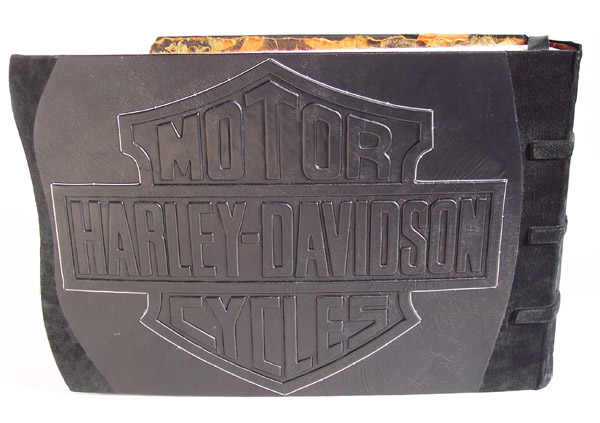 harley davidson motorcycles embossed leather bar and shield logo on book cover