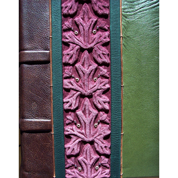 art nouveau leaf pattern carved on embossed leather book cover