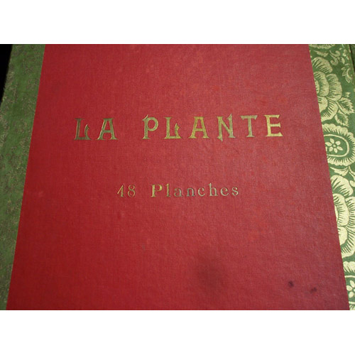 original La Plante book cover lining endsheets of new custom leather book