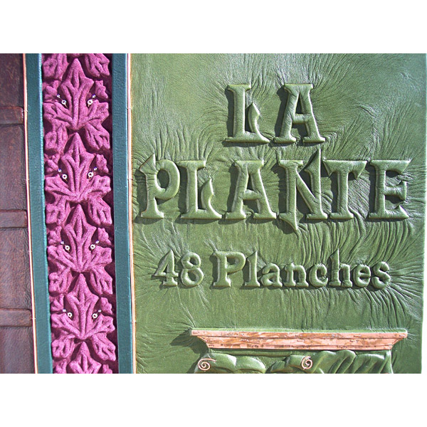 La Plante 48 Planches carved embossed lettering on leather book cover