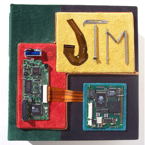 personalized leather box lid with computer circuit boards, electronic parts, initials