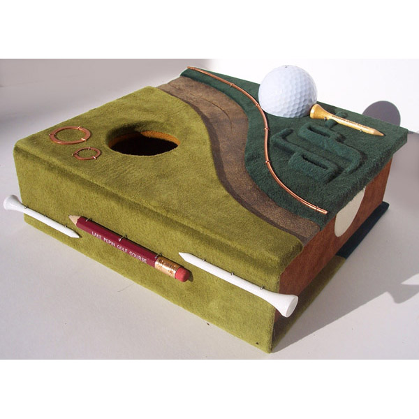 custom leather golf ball box with golf tees, golf green, initials