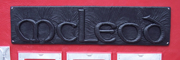 McLeod black leather embossed Celtic Font name panel on leather book