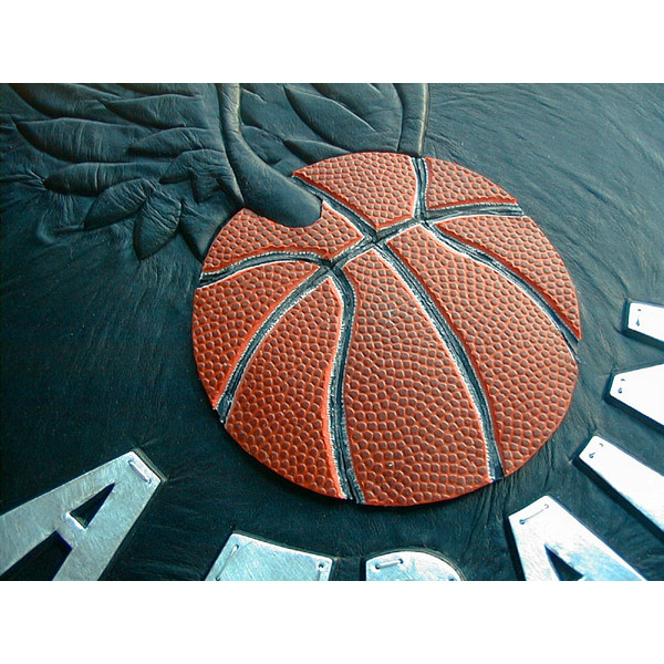 miniature basketball with wings on NBA A-train leather scrapbook