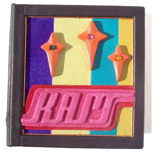 retro custom leather box with pink initials, orange stars, swarovski crystals