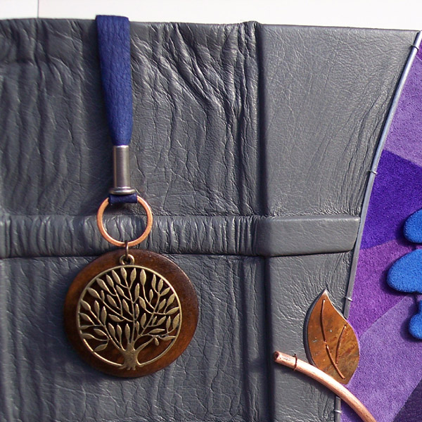 Tree of Life pendant on brass, wood, leather bookmark in custom leather book