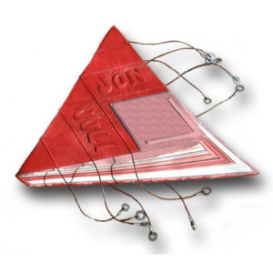 Red and pink leather wedding book in triangle shape with embossed name