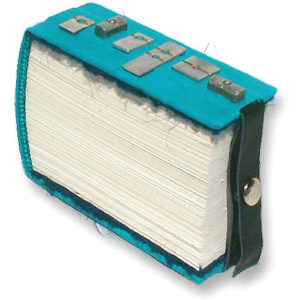 tall slim turquoise leather book with metal parts on cover and snapped closure