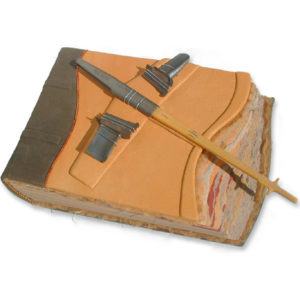 gold leather airplane scrapbook with wing static discharger and aviation parts